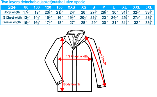 Size-List-Two layers detachable jacket-Outshell size spec-20110802