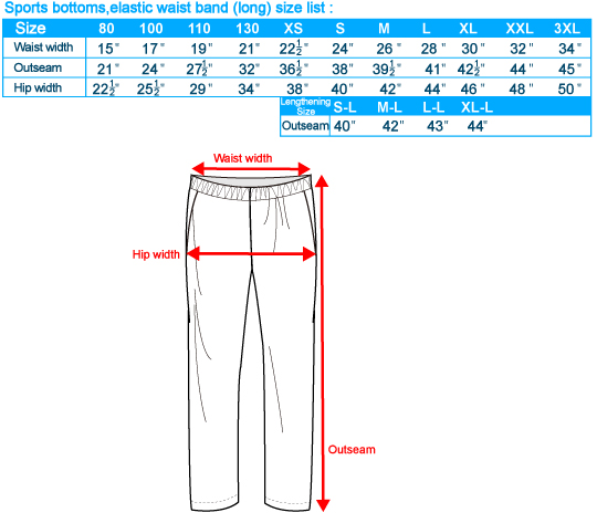 Sports Bottoms Size Chart SG