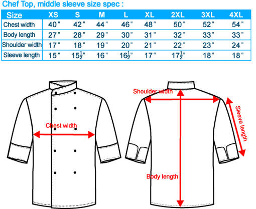 size-list-Chef Top-middle sleeve-male-20110327