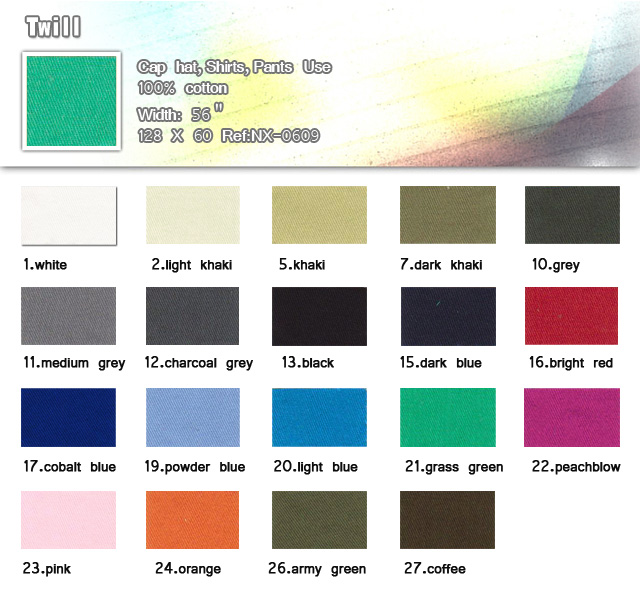 Fabric-100%-Polyester-128 X 60-Cap hat-Shirts-Pants use-Twill-20100316