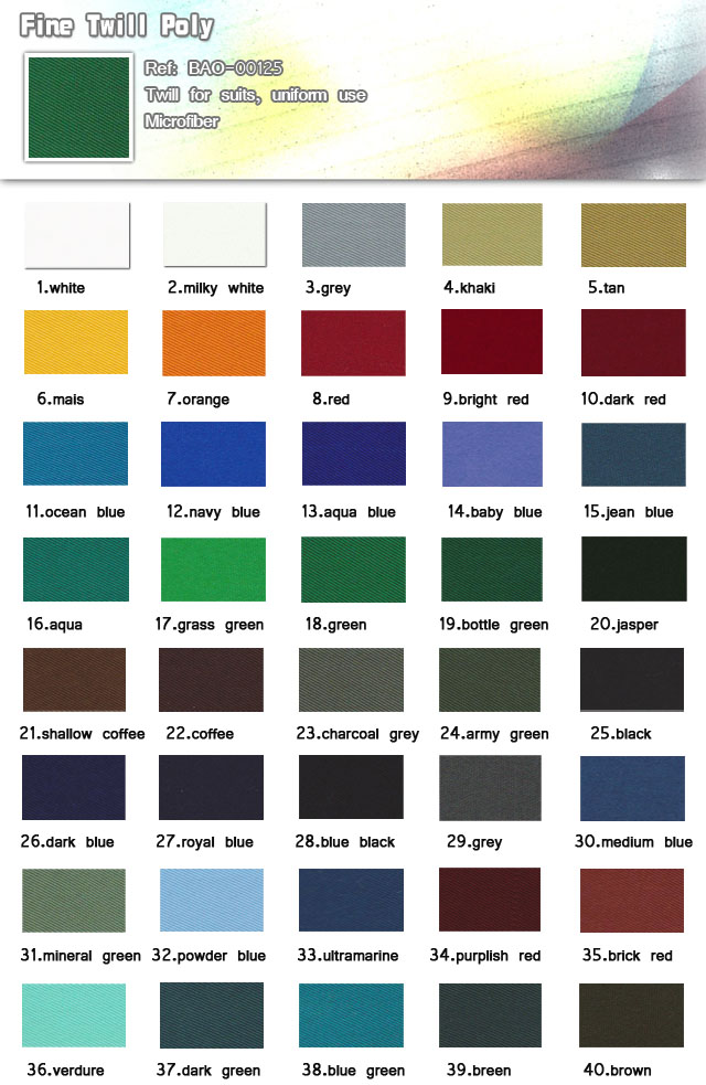 Fabric-Twill for suits uniform use-Fine twill poly-Bussine suits-Uniform use-20101013_Uniform-standard