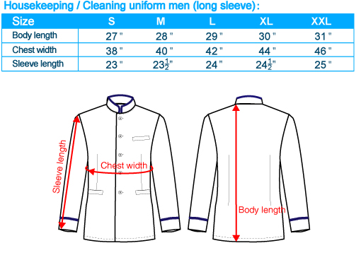 size-list-housekeeping cleaning uniform-long sleeve-male-20110408