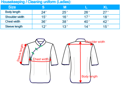 size-list-housekeeping cleaning uniform-middle sleeve-ladies-20110408