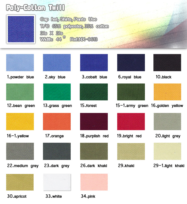 Fabric-65%-Polyester-35%-Cotton-21s X 21s-Cap hat-Shirts-Pants use-Poly -cotton twill-20100316
