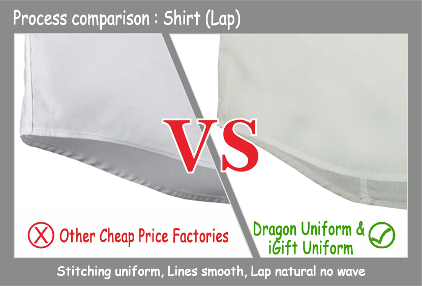 Lap Stitching uniform, Lines smooth, Lap natural no wave